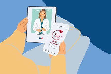 Patient talking by mobile phone with a doctor online from home. Concept of telemedicine and medical treatment during pandemic. Colorful vector illustration in flat cartoon style