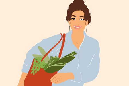 Portrait of a young and cheerful woman standing with a shopping bag full of fresh vegetables and greens. Colorful vector illustration in flat cartoon style