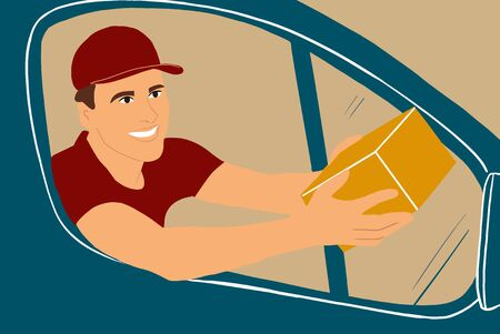 Man delivering goods to the customers on a cargo vehicle, handsome courier looking out the car window with a parcel. Colorful vector illustration in flat cartoon style