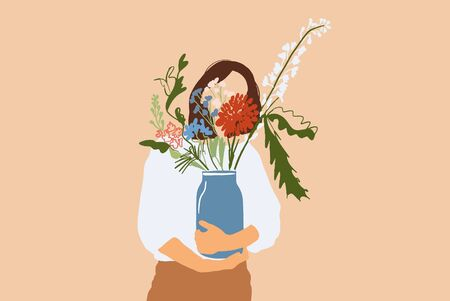 Woman holding vase with beautiful bouquet of flowers on background. Concept of florist and decor. illustration in flat cartoon style