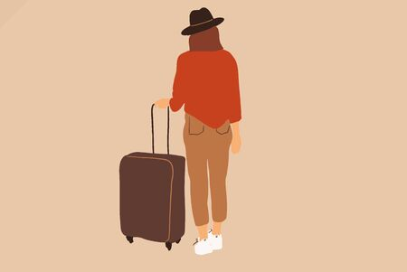 Young female traveler in hat with a laggage on the background. Traveling concept. Vector illustration in flat cartoon style Иллюстрация