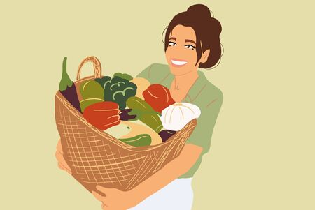 Portrait of a beautiful young woman with basket full of freshly picked up vegetables. Colorful vector illustration in flat cartoon style  イラスト・ベクター素材