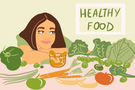 Portrait of a young cheerful woman with lots of healthy green food on the table. Concept of vegetarianism and well-being. Colorful vector illustration in flat cartoon style