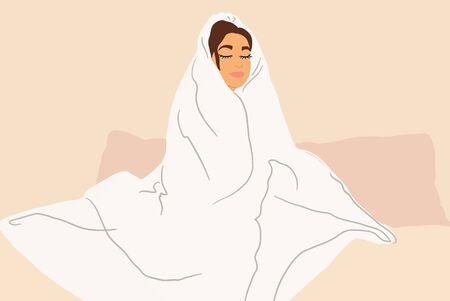 Sleepy woman covered with a white blanket on the couch at home. Concept of a self-isolation and flu diseases at home. Vector illustration in flat cartoon style Ilustración de vector