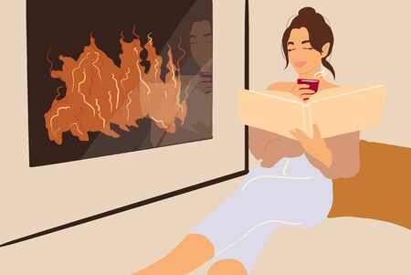 Woman reading book while relaxing near the fireplace at home. Vector illustration in flat cartoon style 向量圖像