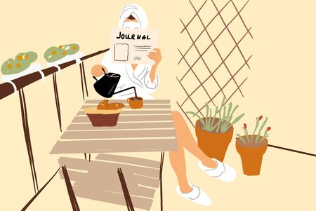 Woman in bathrobe having a breakfast on the beautiful balcony with flowers, reading some paper and drinking a coffee. Vector illustration in flat cartoon style