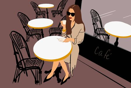 Vector illustration of an elegant woman enjoying coffee at the cafe terrace. French style concept and way of life in Paris