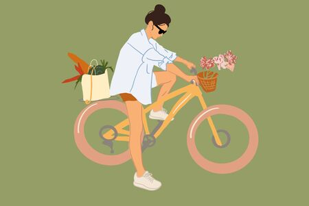 Young and stylish woman on a bicycle with flowers and groceries on the green background. Vector illustration in flat style Vectores