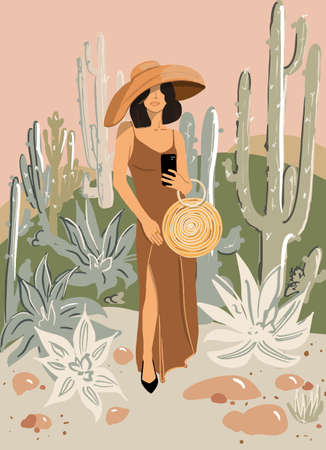 Full length portrait of a gorgeous lady with hat and bag on a tropical background. Vector illustration in flat style
