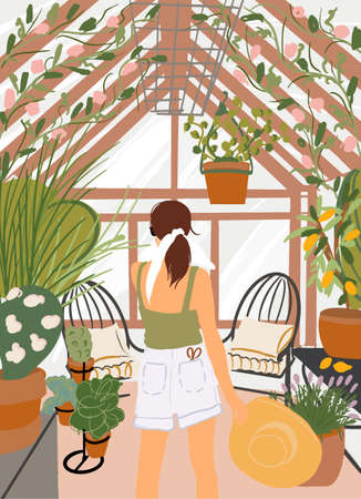 Woman enjoying flowers and plants in the beautiful greenhouse, view from the backside. Vector illustration in flat style Illustration