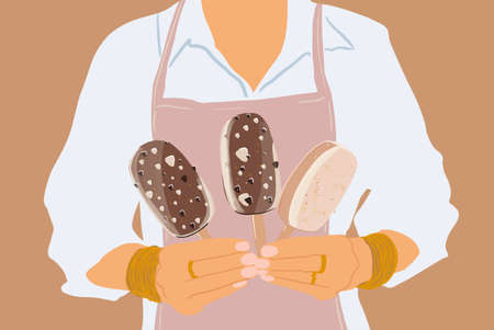 Woman in apron holding three chocolate ice creams on a stick, close-up. Vector illustration in flat cartoon style