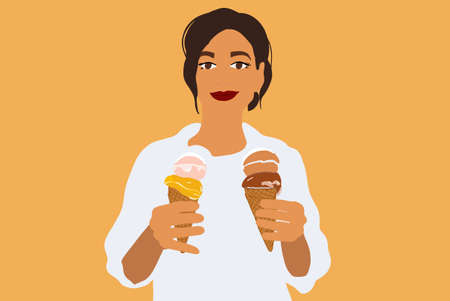 Portrait of a happy woman with ice cream in a waffle cone on a yellow background. Vector illustration in flat style Ilustrace