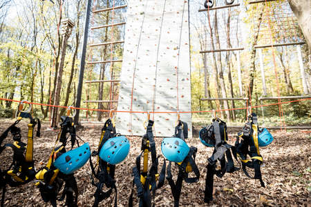 Climbing equipment hanging on the rope at amusement park outdoors