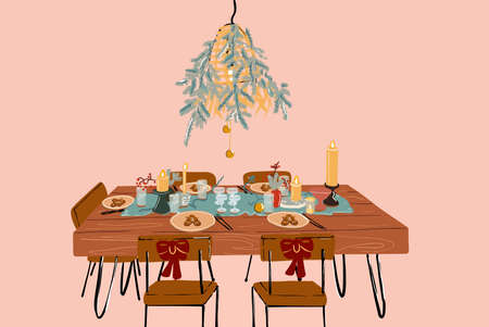 Vector illustration of festively decorated dining table on New Year holidays
