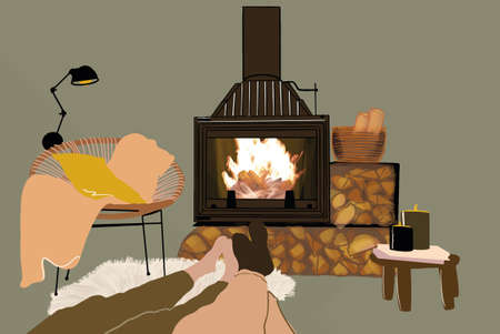 Peoples legs in living room with fireplace and wood cozy decorated. Vector illustration in pastel tones