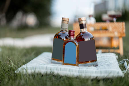 Alcohol on the pillow at picnic outdoors, close-up on three bottles with blank label to copy paste