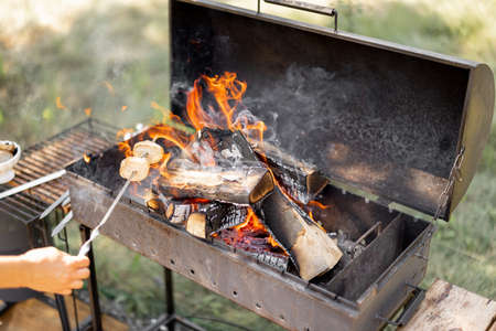 Frying bread on a barbecue with firewood in the forest during summer vacation. Outdoor cooking and resting