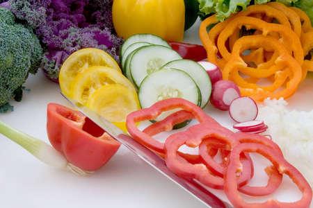 Salad Fixings on chopping board 2 photo