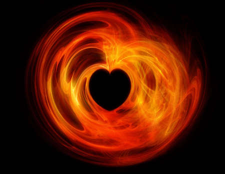 Fractal Heart Shape, with the feeling of flames and or fire photo