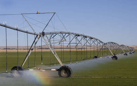 Farm Field Irrigation System watering the field, with small rainbow