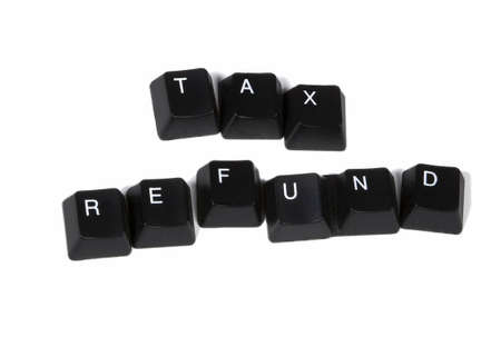 Tax Refund spelled out in black keyboard keys Stock Photo