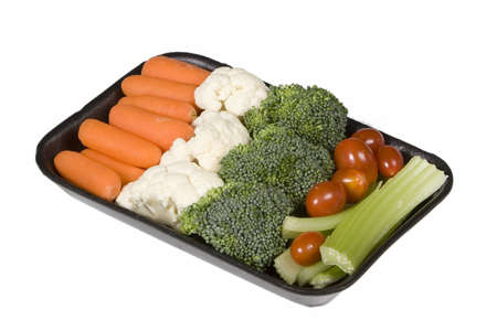 veggie tray: Veggie snack tray on white background