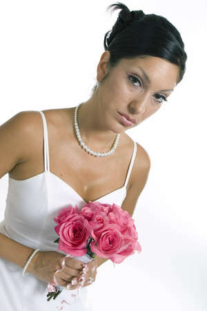 Bridal portrait over white background with flowers Stock Photo - 2011215