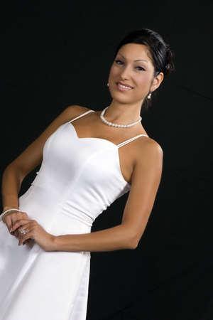 Bridal portrait over black background Imagens