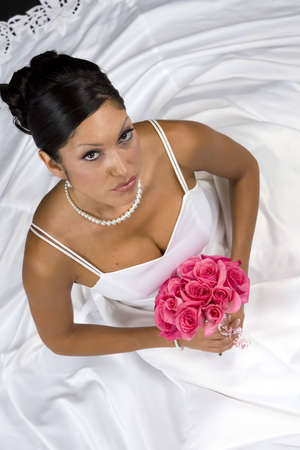 Bridal portrait over black background photo