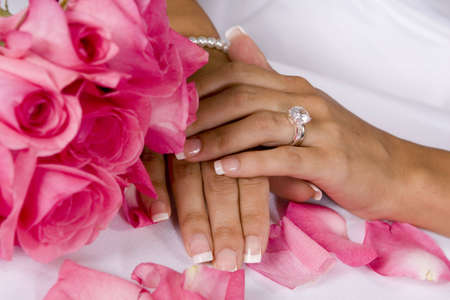 Close up of bouquet,hands and rings Imagens