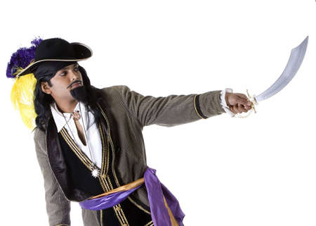 Adult Male Indian Model dressed as pirate over white background