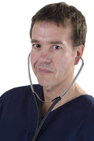 Adult male in medical scrubs over white background