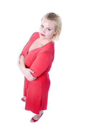 Beautiful Blond Woman in a red dress over a white background