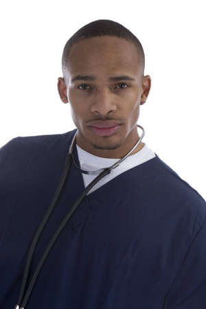 African American Medical Professional over a white background Imagens