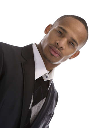 Adult African American Male in Business suit over a white background