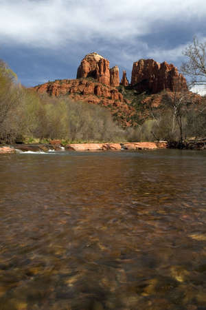Cathedral Rock - Sedona Arizona, viewed from the river, early spring