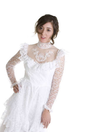 Brunette Model in Bridal Gown over a white background Imagens - 6210603