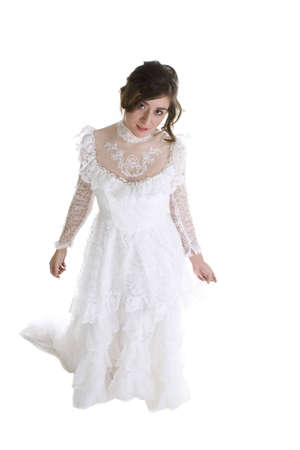 Brunette Model in Bridal Gown over a white background Imagens - 6210586