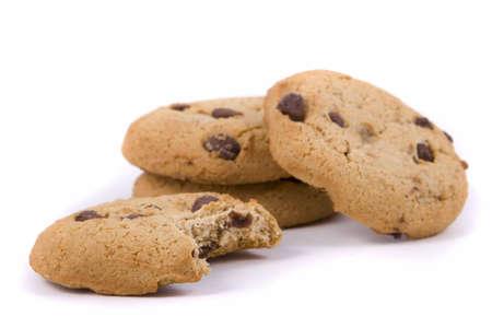 cookie chocolat: Petite pile de cookies de puce chocolat avec un havre �t� mordu
