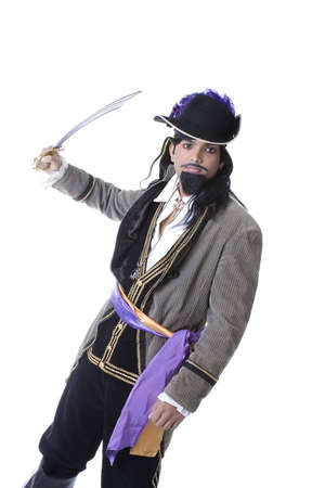 Adult Male Indian Model dressed as pirate over white background Imagens - 6210593