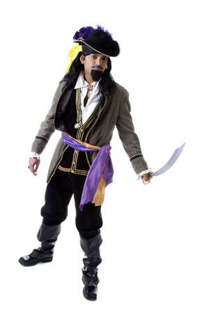 Adult Male Indian Model dressed as pirate over white background Imagens - 6210587