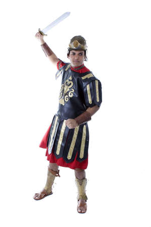 Adult Male Indian Model dressed as Roman Soldier over white background Imagens - 6210566