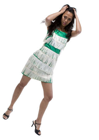 brunette in vintage dress over white background Imagens