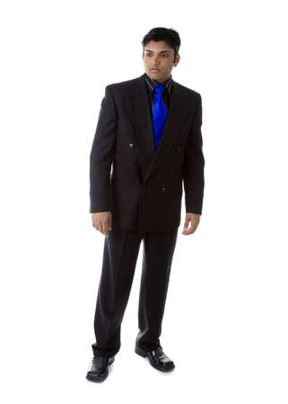 Adult Male Indian Model in business suit over white background