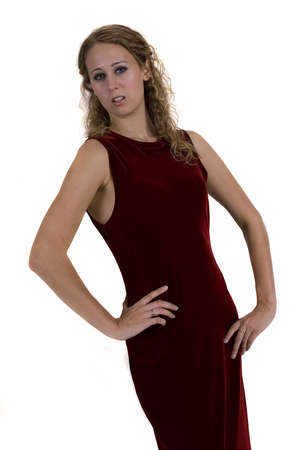 Young woman in red dress over white background Imagens - 13983294