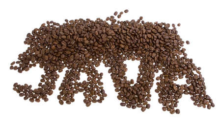 The word JAVA spelled with coffee beans Imagens