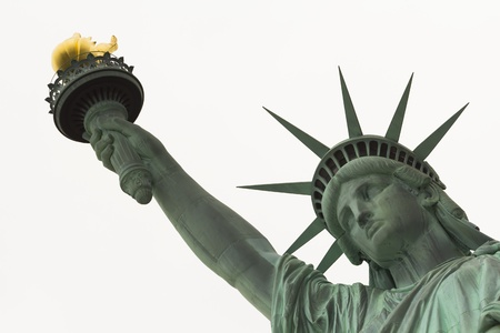 Statue of Liberty Close up on Face and arm against white background Imagens - 17948023