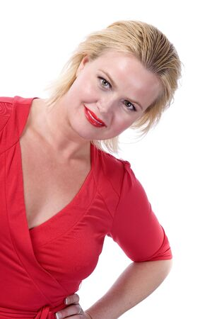 Blonde woman in Red over white background Imagens - 17848889