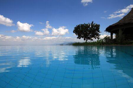 swimmingpool: Swimmingpool at Lake Manyara Tanzania Stock Photo