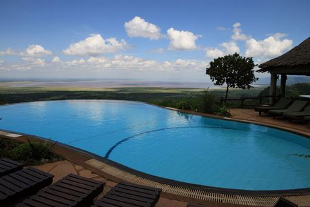 blockh�tte: Schwimmbad am See Manyara Lodge in Tansania